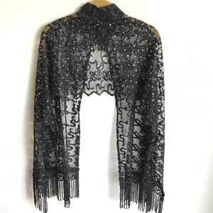 Vonda D's Black Lace Embroidered Caplet Beads